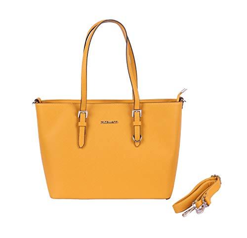 Flora& Co Handtasche 9126 Damen Arbeit Shopper Tasche Handtasche Damenhandtasche Henkeltasche (Gelb)