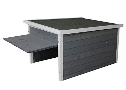 Rasenroboter-Garage, Rasenmäher Haus für selbstfahrende Rasenmähroboter, Holz grau-weiß