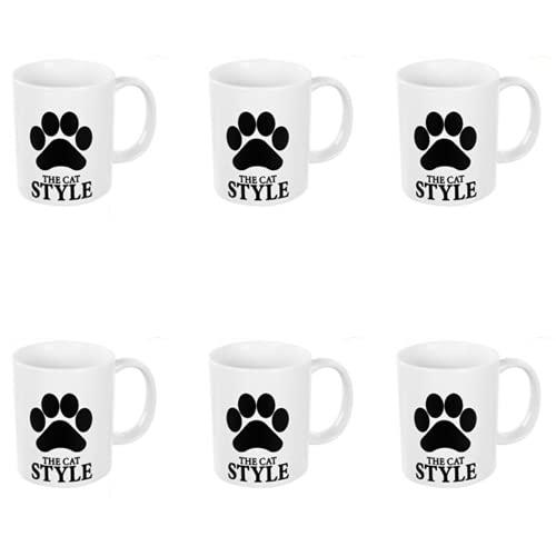 BricoLoco. Lote de 6 tazas con la huella de un gatito. Tazas graciosas y originales para el desayuno café o té. Tazas adultas infantiles para niño y niña.