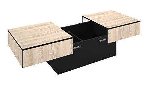 Berlioz créations AmélieFN Mesa de Centro con función de Bar, aglomerado, Fresno/Negro, 113x40x60 cm