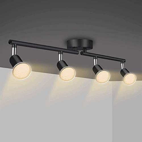 Luz de techo LED Ajustable, lámpara de zócalo GU10, focos modernos giratorios de 4 vías que se adaptan el accesorio de iluminación negra para el dormitorio, la cocina, la sala de estar, el comedor