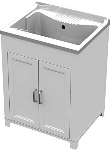Mongardi. Mobile lavatoio Resina lavapanni Completo sifone tavoletta cm 60x50x84h