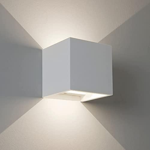 Applique led cubo impermeabile da interno ed esterno lampada da parete a muro in alluminio da 6w 810 lumen led con angolo luce regolabile up down bianco moderno led (Bianco - Bianco naturale 4000K)