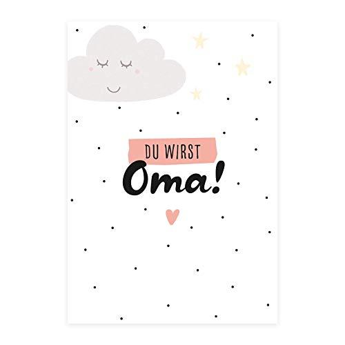 Him & I® - Du wirst Oma Postkarte - Schwangerschaftskarte zur Baby Ankündigung, Karte für Oma zur Ankündigung der Schwangerschaft - Maße: 16,5 cm x 11,5 cm