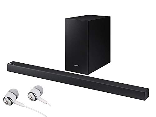 SAMSUNG Bluetooth Smart Sound Soundbar with Wireless Active Subwoofer Game Mode Stream Music APP Control Free Optical Cable with Alphasonik Earbuds