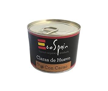 Clara de huevo con cacao - 128 gr. Alimentación Fitness. Listo para consumir. Sin azúcar ni grasa. 14,8 gr. de proteína natural por lata. Sin gluten ni lactosa