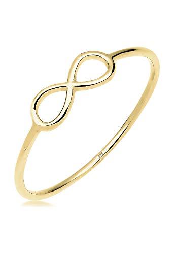 Elli PREMIUM Ring Damen Infinity Unendlichkeit Minimal Geo in 375 Gelbgold