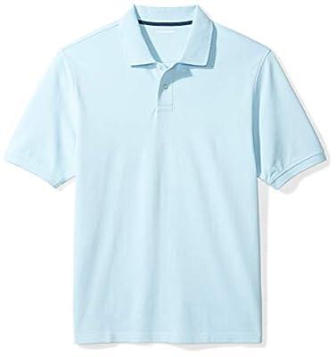 Amazon Essentials Men's Regular-Fit Cotton Pique Polo Shirt, Light Blue, Large