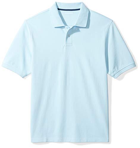 Amazon Essentials Men's Regular-Fit Cotton Pique Polo Shirt, light blue, X-Large