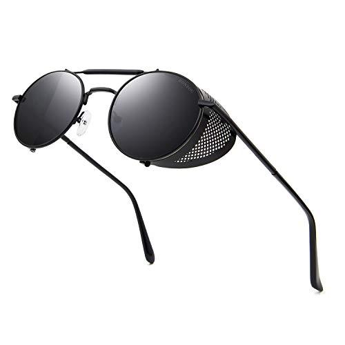 RONSOU Steampunk Stil Rund Vintage Sonnenbrillen Retro Brillen UV400 Schutz Metall Rahmen schwarz rahmen/grau linse