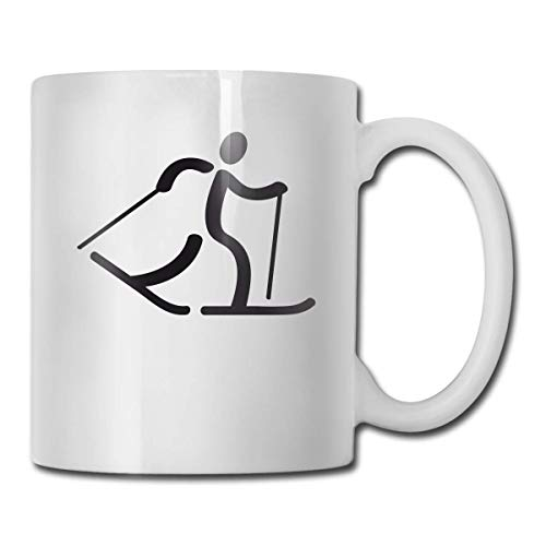 Daawqee Becher Coffee Mug Cross-Country Skiing Grey Mug Funny Ceramic Cup for Coffee and Tea with Handle, White