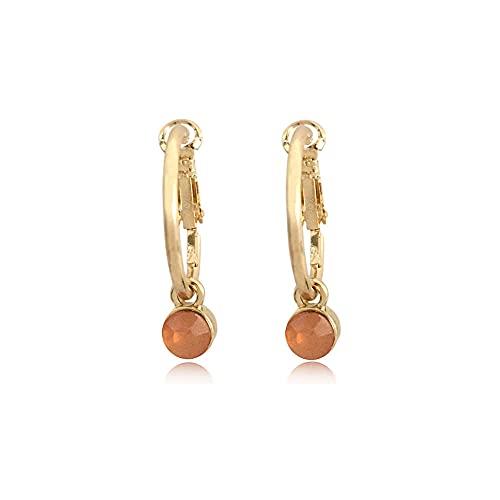 XAOQW Pendientes para Mujeres Accesorios de Boda pequeños Pendientes de aro de Color Oro Moda 5 Color acrilico Piedra Colgante pendientes-ZE28271-2PEACH-ROSA