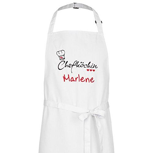 Wolimbo Kochschürze Grillschürze mit Ihrem Wunsch-Namen und Wunsch-Motiv - Farbe: Weiss - die individuelle Schürze für Herren und Damen mit verstellbarem Nackenband