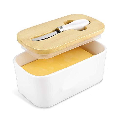 Recipiente para Mantequilla,Mantequera de porcelana con cuchillo y tapa de madera de bambú, lavavajillas disponible, segura, adecuada para mantequilla europea grande, 16,5 * 10,0 * 7,5 cm
