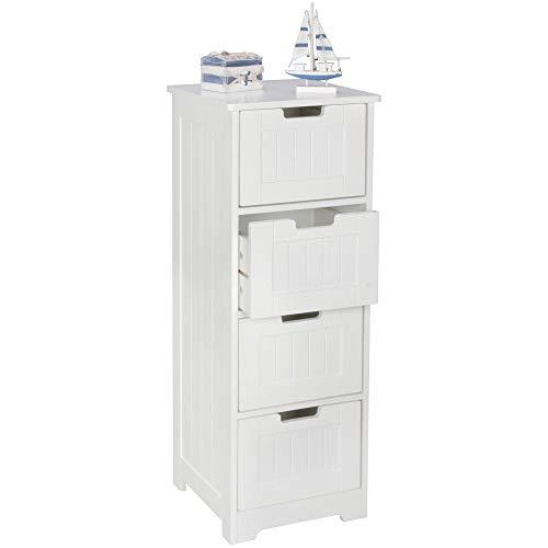 FineBuy Design Badschrank LARS Landhaus-Stil MDF-Holz 30 x 83 x 30 cm weiß   Badezimmerschrank klein 4 Schubladen   Beistellschrank Mehrzweckschrank