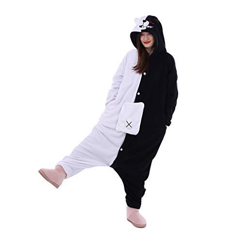 WOSHOW Anime Danganronpa Monokuma Black and White Bear Onesie Pajamas Cosplay Costume Unisex Adult Jumpsuit (M)