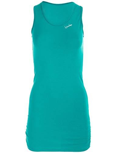 Winshape Damen Fitness Freizeit Longtop WTR15 mit seitlicher Raffung, Slim Style Tanktop, ocean-green, XS