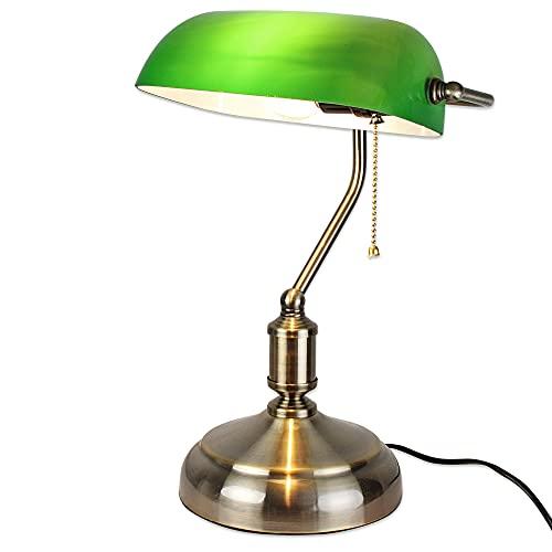 FISHTEC Lampe de Banquier - Lampe de Bureau Vintage avec Culot E27 - Abat Jour en Verre Opaline - Interrupteur Avec Chaînette - 38 CM - Finition Bronze et Vert