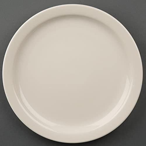 Olympia Ivory Assiettes à Rebord Étroit en Porcelaine Crème 230 mm - Entièrement Vitrifiée - Va au Four, Micro Ondes et Lave Vaisselle - Paquet de 12