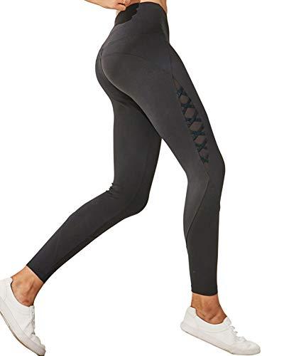 Nouveaux Pantalons de Yoga Dames élastiques Course à Pied entraînement de Formation à séchage Rapide Pantalons de Sport Slim Pantalon décontracté à la Hanche,Gris,S