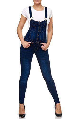 EGOMAXX Pantalón Vaquero con Peto para Mujer Skinny Boyfriend Bib Pants, Color:Azul, Talla:40