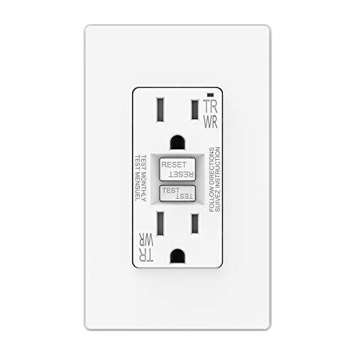 ELEGRP 15 Amp GFCI Outlet, 5-15R GFI Dual Receptacle, TR Tamper Resistant and WR Weather Resistant, Self-Test Ground Fault Circuit Interrupters with Wall Plate, UL Listed (1 Pack, Matte White)