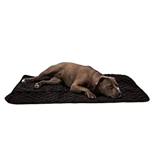 Furhaven Pet Dog Bed Heating Pad - ThermaNAP Quilted Plush Velvet Insulated Thermal Self-Warming Pet Bed Mat for Dogs and Cats, Espresso, Large