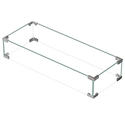 """Bali Outdoors Rectangle Fire Pit Wind Guard, 30.7""""x11.8""""x 5.9"""" Clear Tempered Glass Wind Guard for Patio Fire Pits Outdoor"""