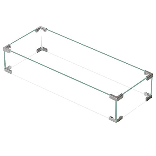 """ZEFEEL Bali Outdoors Rectangle Fire Pit Wind Guard, 30.7""""x11.8""""x 5.9"""" Clear Tempered Glass Wind Guard for Patio Fire Pits Outdoor …"""