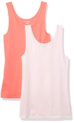 Amazon Essentials 2-Pack Slim-Fit Tank Camicia, Corallo Brillante/Rosa, XXL