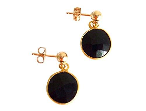 Gemshine - Pendientes de oro de 14kt y onix, color de la gema negro