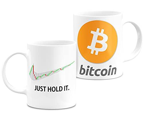 Taza De Desayuno Criptomonedas Bitcoin Ethereum Dogecoin To The Moon Taza De Cerámica Blanca 11oZ (Just-Hold-Bitcoin)