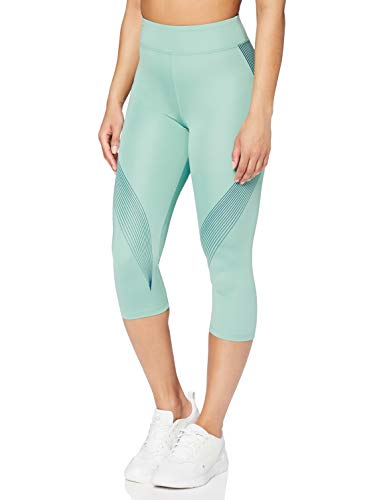 Amazon-Marke: AURIQUE Damen Capri-Sportleggings mit Print, Blau (Nile Blue/Gibraltar Sea), S