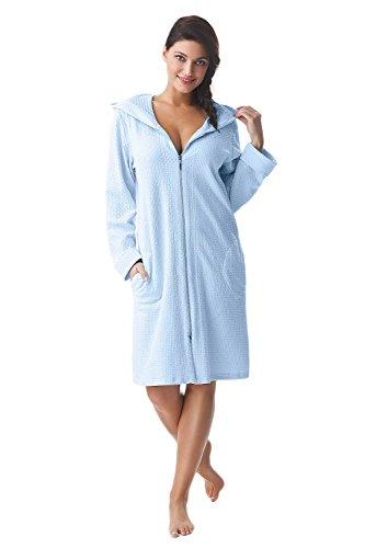 Albornoz para mujer de algodón muy suave Dorota con bolsillos, cremallera y capucha azul claro M