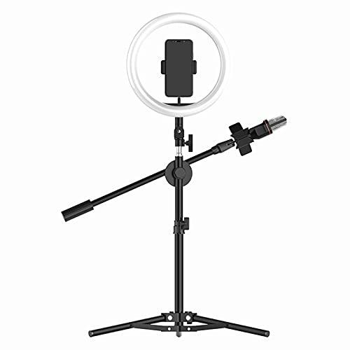 TTSEFW Luz de Anillo de Selfie de Luz LED con Trípode y SoporteLuz de Relleno con Control Remoto USB y Tres temperaturas de Color para Móvil Selfie Fotografía Maquillaje