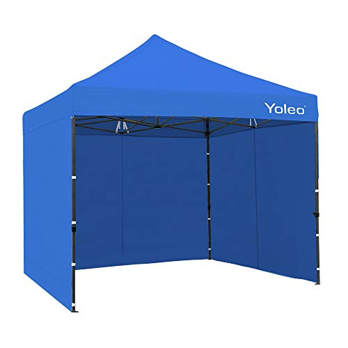 Yoleo Pop Up Canopy Tent with Sides 10x10 Commercial Instant Canopy Tent Easy Up Shelter with 3 Walls, Wheeled Carry Bag,4 Weight Bags (New Blue)