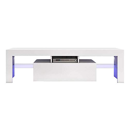 Carsparadisezone LED TV Stand Cabinet Unit 130cm Modern TV Desk with Storage Living Room Home Forniture White Matt Body and High Gloss Door Blue LED Light?UK STOCK?