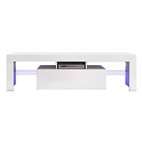 Carsparadisezone LED TV Stand Cabinet Unit 130cm Modern TV Desk with Storage Living Room Home Forniture White Matt Body and High Gloss Door Blue LED Light?UK STOCK?