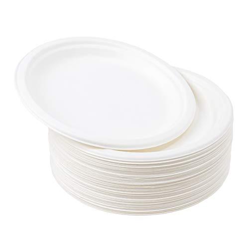 60 Platos Desechables Rígido de Papel de Caña de Azúcar, 18cm - No Plastico Platos de Postre| Biodegradable y Ecológico| Impermeable y Apto para Microondas| Vajilla Desechable para Cumpleaños Fiestas