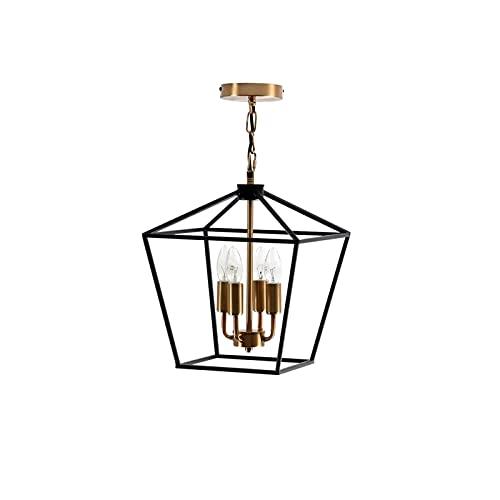 Lámpara de araña de estilo retro, colgante, personalizable, para bar, restaurante, de hierro forjado, metal, 4 x E14 (310 x 310 x 350 mm)