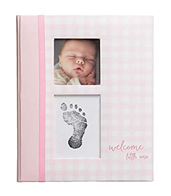 Pearhead Gingham Baby Memory Book and Clean-Touch Ink Pad, Baby Girl Gift, Baby Milestones Photo Album, Pink