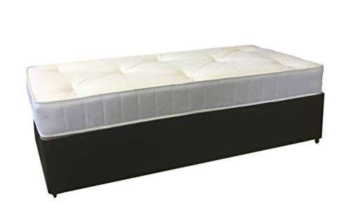 Perfect Sleep 3FT Single Black Leather Divan Bed Including Medium feel Mattress