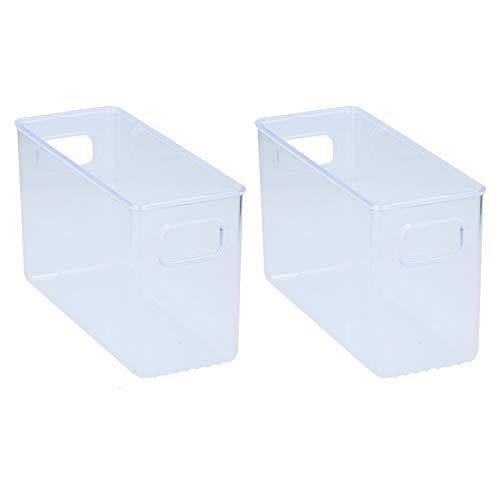 Q Sharp Set van 2 Kleine Keuken Koelkast of Kast Organisator Container Box Transparante Plastic Tall Boxes 25,5 x 10 x 15 cm