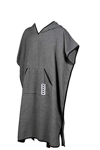 Arena Icons Poncho Hooded Swim Towel Changing Robe, Grey, Large
