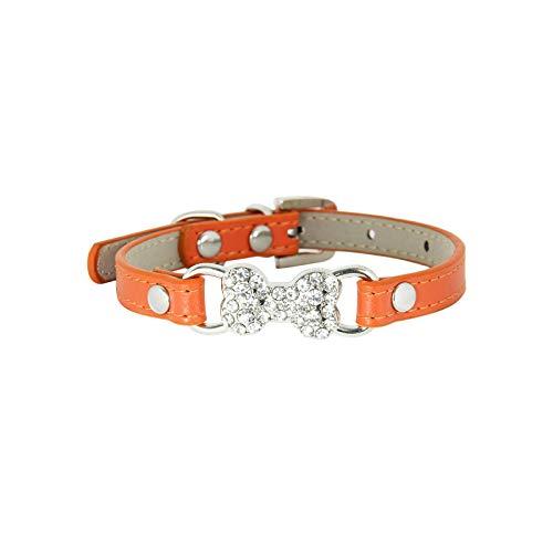 Collar para perro rosa, collar rojo con estrás, para mascotas pequeñas, cachorro, gato, chihuahua, naranja-XXS