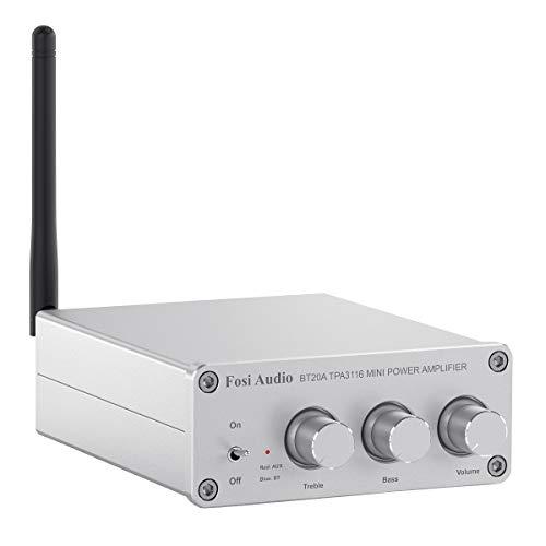Bluetooth Amplificador, Fosi Audio BT20A - Receptor de Audio Estéreo de 2 Canales Hi-Res TPA3116 Class D Integrated Mini Amp 2.0CH para Altavoces Pasivos 100W x2 (Plata)