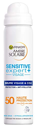 Garnier Ambre Solaire - Brume Visage et Cou - Protection et Anti-Pollution Sensitive Expert+- FPS 50 - 75 mL