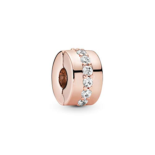 Pandora Jewelry Sparkling Row Spacer Cubic Zirconia Charm in Pandora Rose