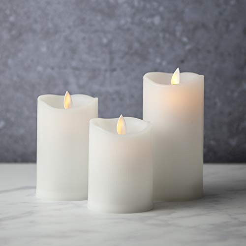Flameless-Candles-Led-Battery-Operated | with Remote Control Timer Flickering Flame White Indoor Outdoor Large Pillar Candle Lights - Set of 3 Unscented 4 5 6 by Sandstone & Sage