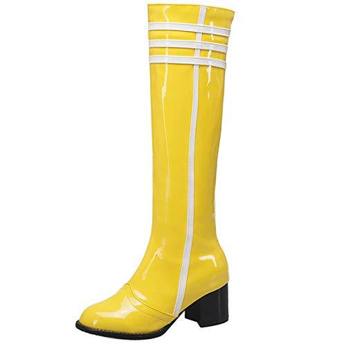 Mediffen Damen Mode Knee Lack Reitstiefel Reißverschluss Damen Blockabsatz Warm Winter Reitstiefel Party Gelb Gr 40.5 EU/42Asiatisch